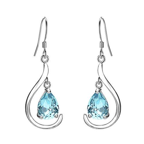 EVER FAITH Women's 925 Sterling Silver Prong CZ Simple Teardrop Daily Hook Dangle Earrings Light Blue
