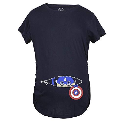 Funny Superhero Costume (Maternity Peeking Captain Baby Funny Pregnancy Superhero Tees I'm Pregnant T Shirt (Navy) -)