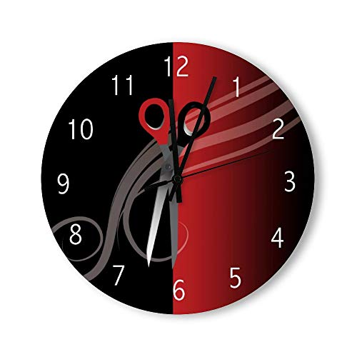 Tamengi Horloge murale ronde silencieuse en bois de 38,1 cm – Fonctionne avec des piles – Rouge et noir – Style rustique…