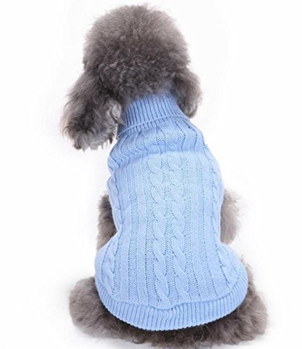 Sisha Pet Dog Clothes Winter Warm Thickening Sweater for Pomeranian, Bichon Frise, Poodle and Other Small Dogs Light Blue M