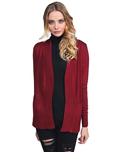 Awesome21 Womens Solid Cardigan Pockets