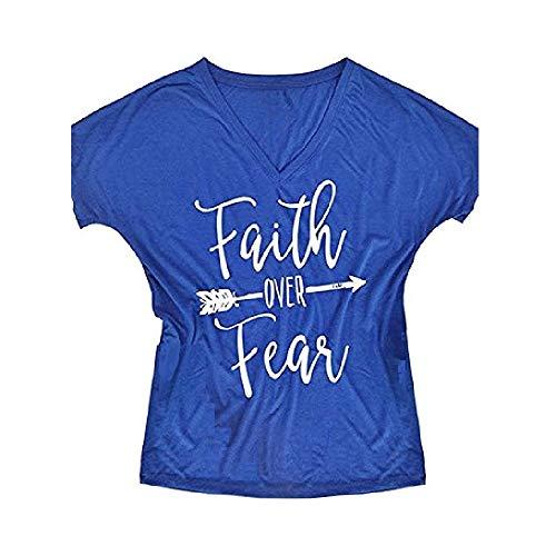 (Gemijack Womens T Shirt Casual Cotton Short Sleeve Graphic T-Shirt Tops Tees,Large,Royal Blue)