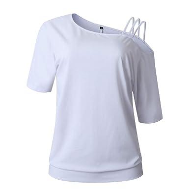 watch 21830 92eea Aibayleef Maglietta Donna Scollo a Barca T-Shirt Monospalla ...