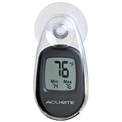 AcuRite 00318 Indoor Outdoor Suction Cup Digital Thermometer, Black