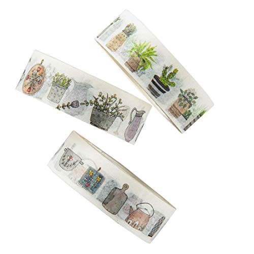 Washi Tape Set, Plants and Kitchen Design Decorative DIY Adhesive Paper Masking Tapes, writable, Sticky, 3 Rolls