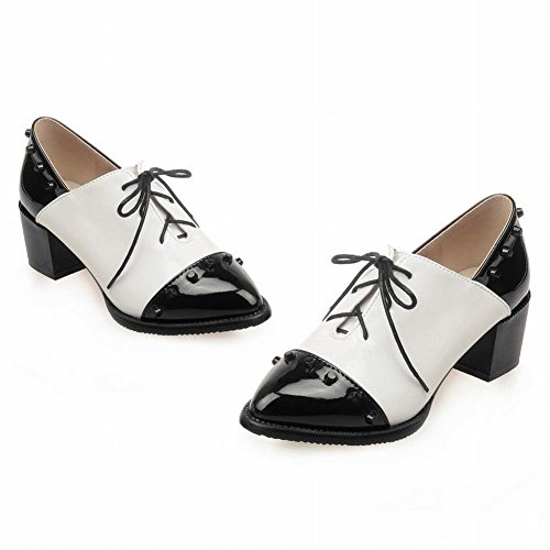 Mostrar Shine Mujeres Chic Remaches Surtidos Colores Punta Estrecha Oxfords Zapatos Negro