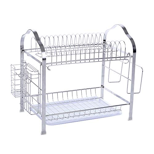 Rack Large Knife (okdeals 2 Tier Stainless Steel Dish Drying Rack With Tray,Enamel Utensil Holder,Plates Organizer Drainer,Kitchen Rack Knife Dish Strainer For Counter- Large Capacity)