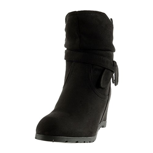 Angkorly - damen Schuhe Stiefeletten - Flexible - Knoten - String Tanga Keilabsatz 7 CM Schwarz