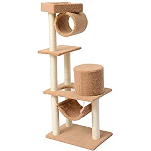 PawHut 55-Inch Cat Tree Pet Scratching Post Furniture, Coffee