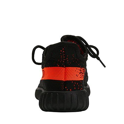 Fereshte Mannen Vrouwen Paar Casual Sneakers Ademende Atletische Sportschoenen Antislip Veterschoenen Lopen Loopschoenen Voor Gym ... Zwart Oranje
