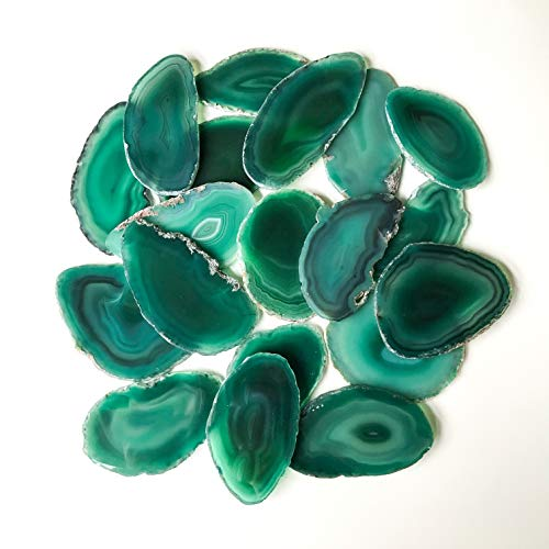 20 2 inch - 2.85 inch Green Agate Slice Terrarium Filler Stone Place Cards Bulk Agate Slabs Geode Wedding Decor for Calligraphy Table Decor Tablescape