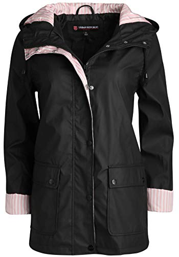 URBAN REPUBLIC Women's Lightweight Vinyl Hooded Raincoat Jacket