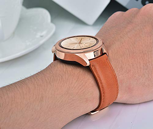 Band For Galaxy Watch 42mm Bands Womengalaxy Watch Active Bandtorotop 20mm Genuine Leather Strap Replacement Band Strap With Rose Gold Buckle For