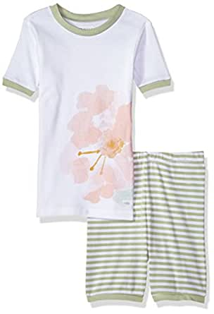 Burt's Bees Baby Little Kids Organic Short Sleeve Pajama Set, Rosy Spring, 5