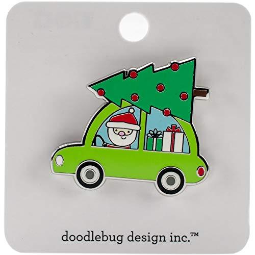 Here Comes Santa Claus Collectible Enamel Pin-Car W/Christmas Tree