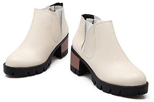 Chfso Kvinna Elegant Solid Rund Tå Elastisk Mitten Chunke Hälen Dra På Boots Beige
