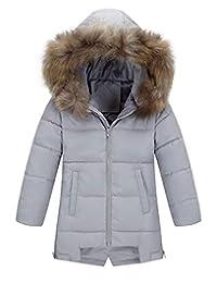 AIEOE Girl's Winter Hooded Down Coat Long Puffer Jacket Parka Outwear 3-8Years
