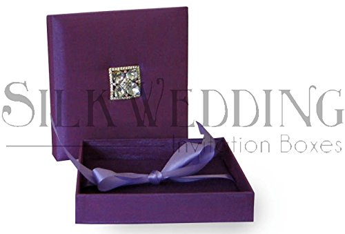Luscious Purple Silk Wedding Invitation Box With Double Padded Lid And Shimmering (Silk Box Wedding Invitations)