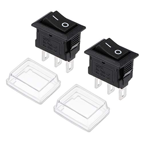 uxcell Mini Boat Rocker Switch With Waterproof Case Black Toggle Switch for Boat Car Marine ON/ON AC 250V/3A 125V/6A 2pcs