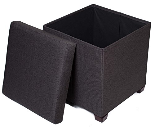 Folding Storage Ottoman with Legs | Upholstered | 16 x 16 | Linen | Strong and Sturdy | Quick and Easy Assembly | Foot Stool | Black