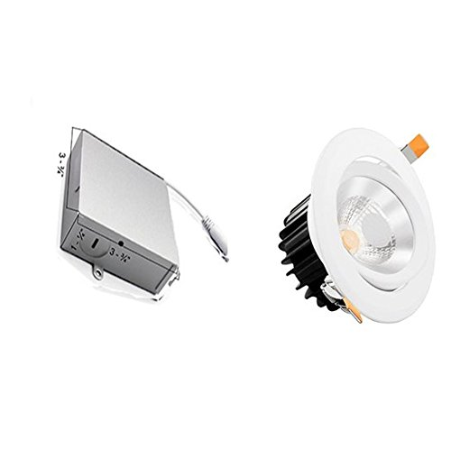 Infinity Green Lighting GAD0415 4'' Round Adjustable LED Recessed Light 15 Watts with Junction Box Dimmable (White, 5000K)