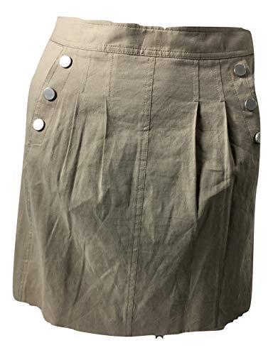 Elie Tahari Women's Peyton Snap Linen Blend Skirt Stone Khaki Size 0