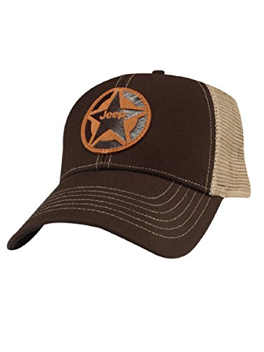 Jeep Star Leather Patch Mesh Back Cap, Brown/Tan, Adjustable (Jeep Camo Hat)