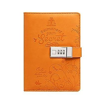 Yakri B6, TPN012, diario segreto con lucchetto a password, in pelle PU, 5.5x7.9x1.3 inch Black 5.5x7.9x1.3 inch Black Umei