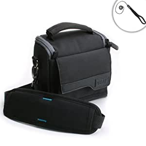 Lightweight Travel Medium Camera Holster Bag with Padded Interior Dividers , Shoulder Strap & Accessory Pockets by USA GEAR - Works With Nikon DL18-50 , Coolpix A10 , B500 and More Digital Cameras!