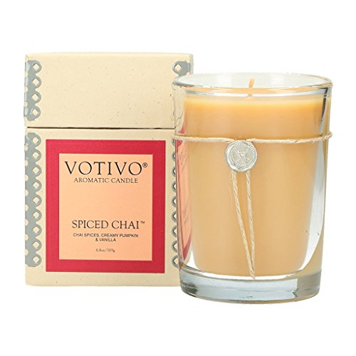 Votivo Aromatic Candle - Spiced Chai - Spice Glass Candle Pumpkin