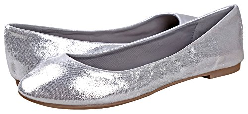 Flats Women's Breckelle's Slip Silver On Pointed Ballet Toe Yazxnwfa