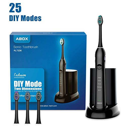 Cheap Electric Travel Toothbrush – Sonic Electronic Toothbrush for Adult by ABOX, 5 Brushing Modes with DIY Mode Rechargeable up to 60 Days, IPX7 Waterproof, UV Sanitation, Travel Case Included