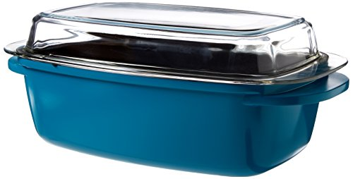 Gibson Turquoise 6.2 quart Cast Aluminum Roaster, Black by Gibson