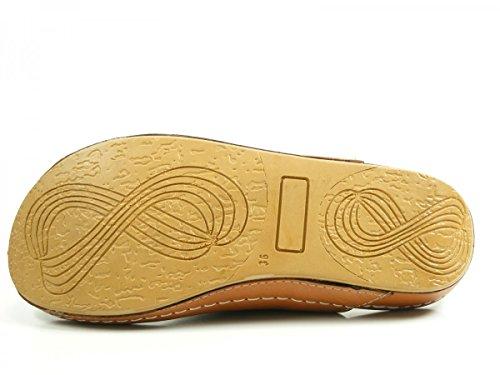 Andrea Conti 0021629 Zuecos de material cuero mujer Braun