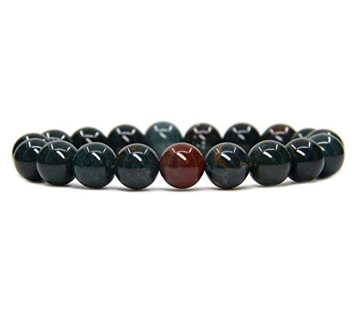 (Natural Green Bloodstone Heliotrope Genuine Semi-Precious Gemstones Healing 10mm Beaded Stretch Bracelet 7