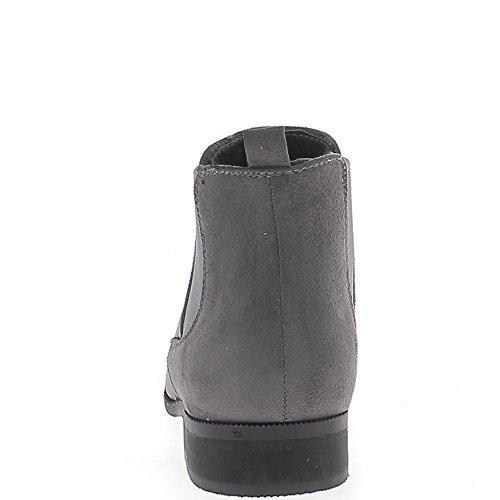 Bottines basses femme grises à talon de 2,5cm look daim