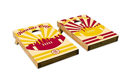 Kansas City Chiefs Skyline Design Cornhole/Bean Bag Toss Board Set – Made in USA Wood  - 2'x3' Tailgate Size - Includes 8 Corn-Filled Bean Bags