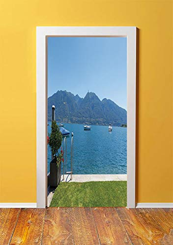 - Landscape 3D Door Sticker Wall Decals Mural Wallpaper,Architecture Outdoor Terrace by the Lake with Green Garden Sail Boats Leisure,DIY Art Home Decor Poster Decoration 30.3x78.11541,Green Blue