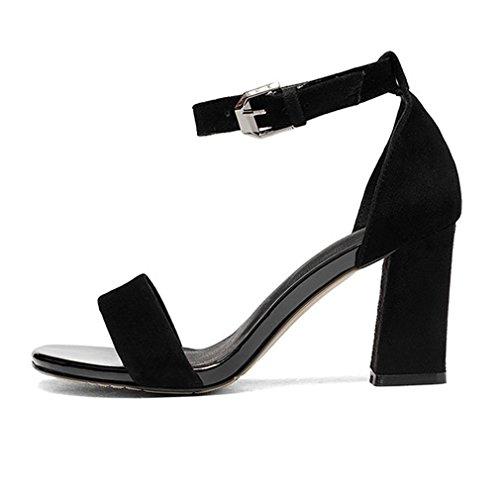 Plage noir Xianshu Femmes Bloc Toe 41 Cheville Chaussures Fermeture Boucle Été Peep Sangle Sandales Talon Uq1UPnOw