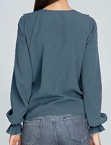 Taille lgant Blouse Tee Grande Femme Longue Shirts Ruffle Clair Hauts Chic Mousseline Tunique bouriffer Soie T de Chemisier Tops Manche Casual Chemise Bleu P8wIf