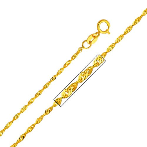 14k Yellow Gold Twisted Cornicello Italian Horn Pendant with 1.2mm Singapore Chain Necklace - 20'' by The World Jewelry Center (Image #3)