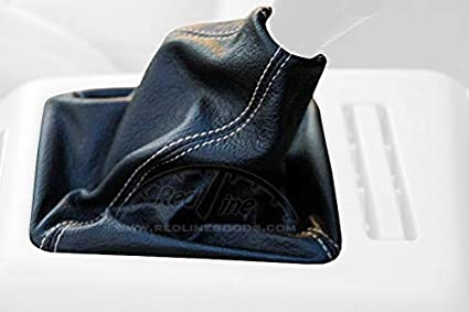 RedlineGoods Shift Boot Compatible with Volkswagen Corrado 1990-94 Black Leather-Silver Thread