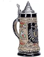 0.75L Beer Stein with Matel Pewter Lid Bavaria Steel Germany Oktoberfest Tankard Eagle Bierkrug Drinking Glass Horn Coffee Mug Stine Christmas Ornaments Cup Broeder Horse Portawrap Deutschland Bayern