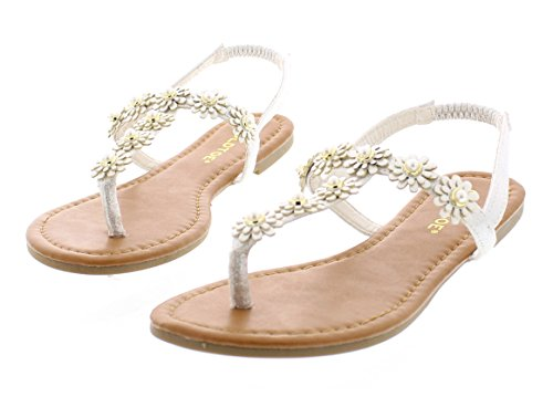 Gold Toe Women's Malia Glitter Sparkly Flower Pearl Stud Embellished T-Strap Flat Thong Flip Flop Sandal White 8 US