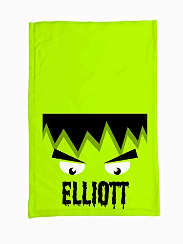 Personalized Halloween Trick Or Treat Pillowcase - Kids Full Frankenstein Custom Halloween Treat Bag, Cute Personalized Microfiber Pillowcase for Boys and Girls, 20 x 30 Inches
