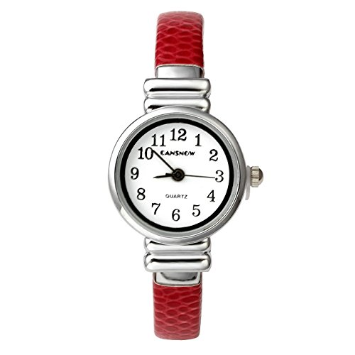 (Top Plaza Kids Girls Casual Chic Simple Arabic Numeral Bangle Cuff Bracelet Analog Quartz Watch for Small Wrist,5.5 Inches,Red)