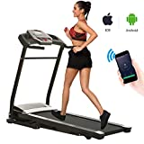 Miageek Fitness Folding Electric Jogging Treadmills with Smartphone APP Control, Walking Running Exercise Machine Incline Trainer Equipment Easy Assembly (2.25 HP - APP Control - Black)