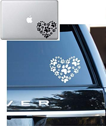 - Animal lover Adopt heart Dog Cat Love Pet PAW Vinyl Decal Sticker - Car Window, Laptop, Wall, Mac (5.5