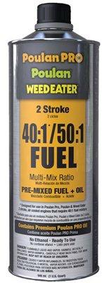 Case of 12 - Poulan Pro, QT, 40:1/50:1, 92 Octane Premix 2 Stroke Fuel & Oil, Ready to Use.