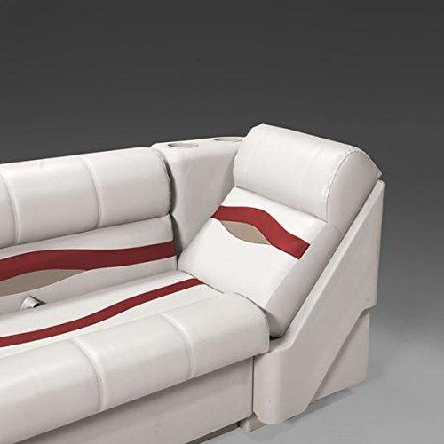 DeckMate Premium Left Pontoon Lean Back Seats (Ivory/Burgundy/Tan) (Pontoon Furniture Premium)